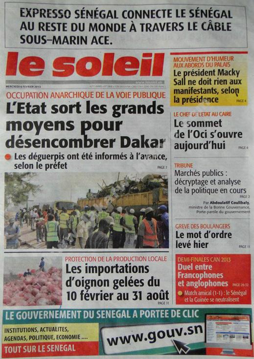 A la Une du Journal Le Soleil du mercredi 06 janvier 2013