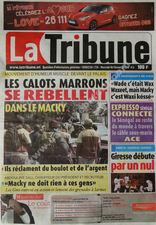 A la Une du Journal La Tribune du mercredi 06 janvier 2013