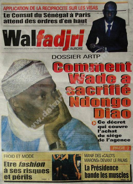 A la Une du Journal Walfadjri du mercredi 06 janvier 2013