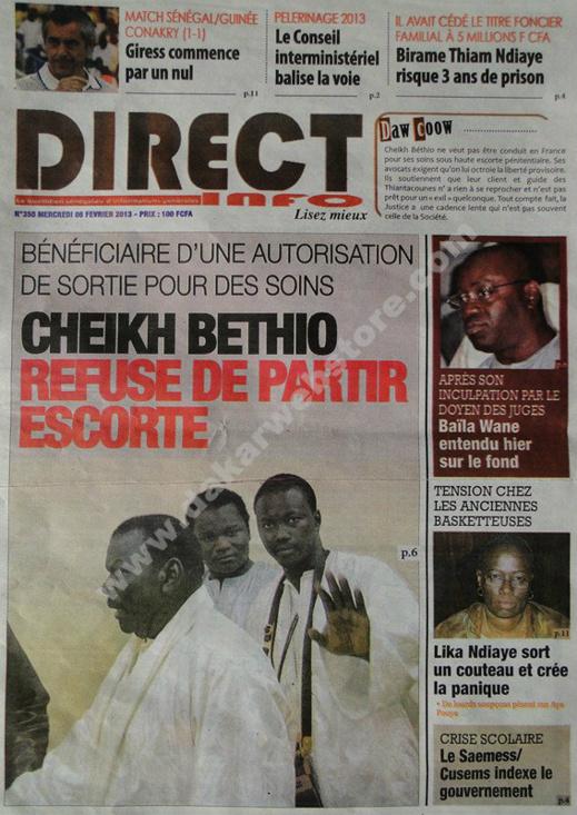 A la Une du Journal Direct Info du mercredi 06 janvier 2013