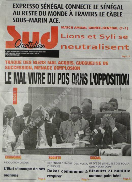 A la Une du Journal Sud Quotidien du mercredi 06 janvier 2013