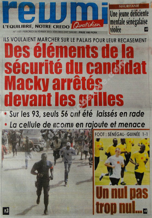 A la Une du Journal Rewmi du mercredi 06 janvier 2013
