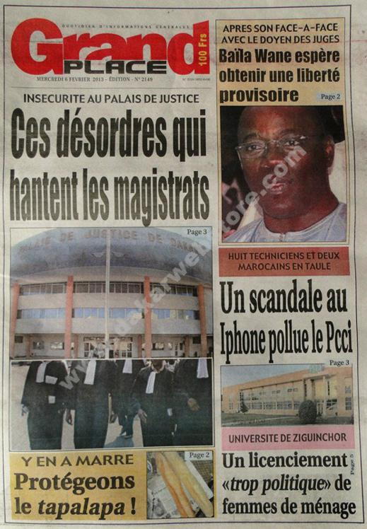 A la Une du Journal Grand Place du mercredi 06 janvier 2013