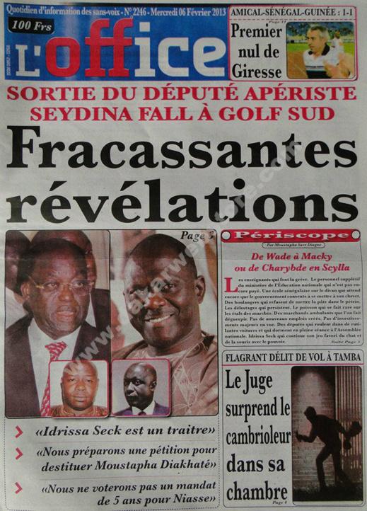 A la Une du Journal L'Office du mercredi 06 janvier 2013