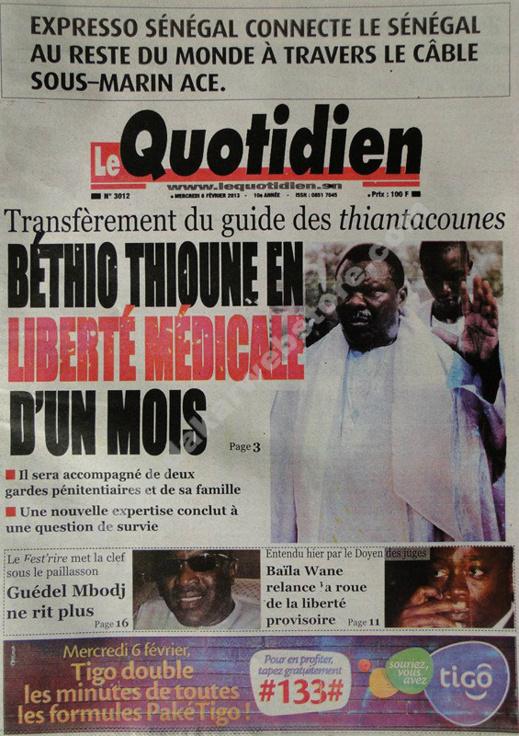 A la Une du Journal Quotidien du mercredi 06 janvier 2013
