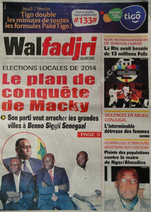 A la Une du Journal Walfadjri du jeudi 07 février 2013