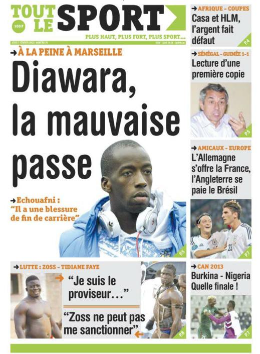 A la Une du Journal Tout Le Sport du jeudi 07 février 2013