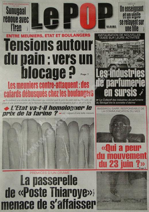 A la Une du Journal Le Populaire du jeudi 07 février 2013