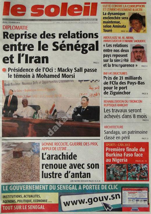 A la Une du Journal Le Soleil du jeudi 07 février 2013