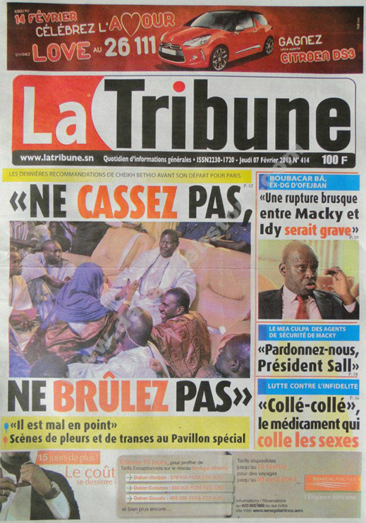 A la Une du Journal La Tribune du jeudi 07 février 2013