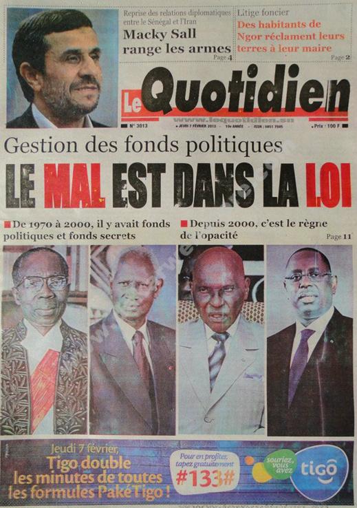 A la Une du Journal Quotidien du jeudi 07 février 2013