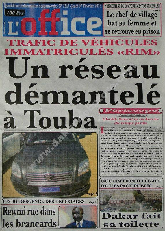 A la Une du Journal L'Office du jeudi 07 février 2013