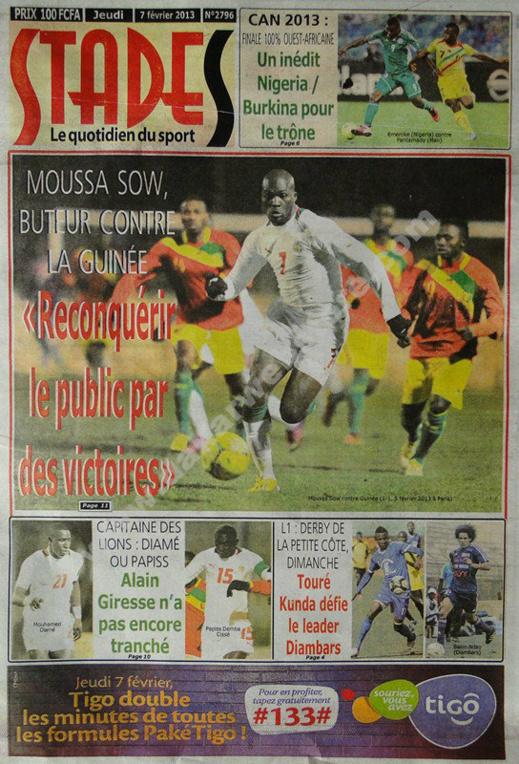 A la Une du Journal Stades du jeudi 07 février 2013