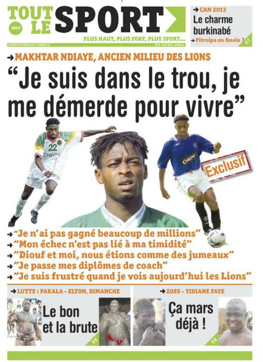 A la Une du Journal Tout Le Sport du vendredi 08 février 2013