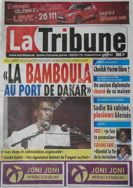 A la Une du Journal La Tribune du vendredi 08 février 2013