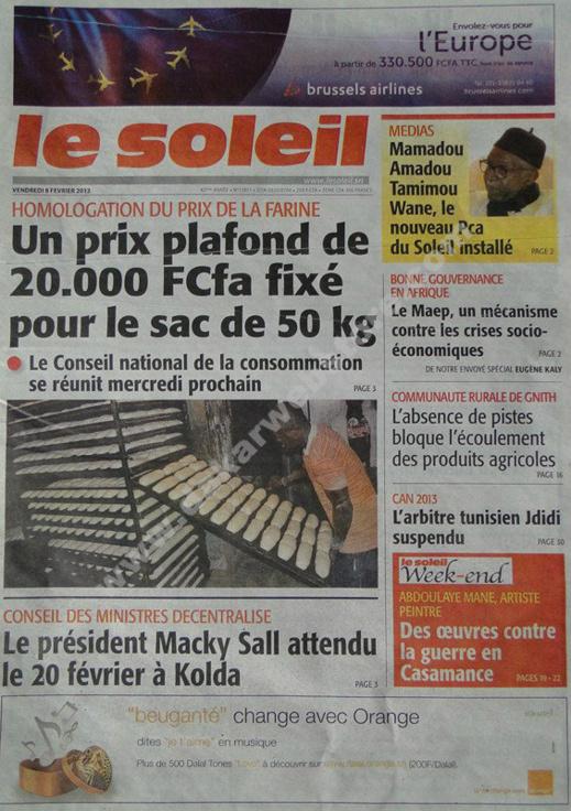 A la Une du Journal Le Soleil du vendredi 08 février 2013