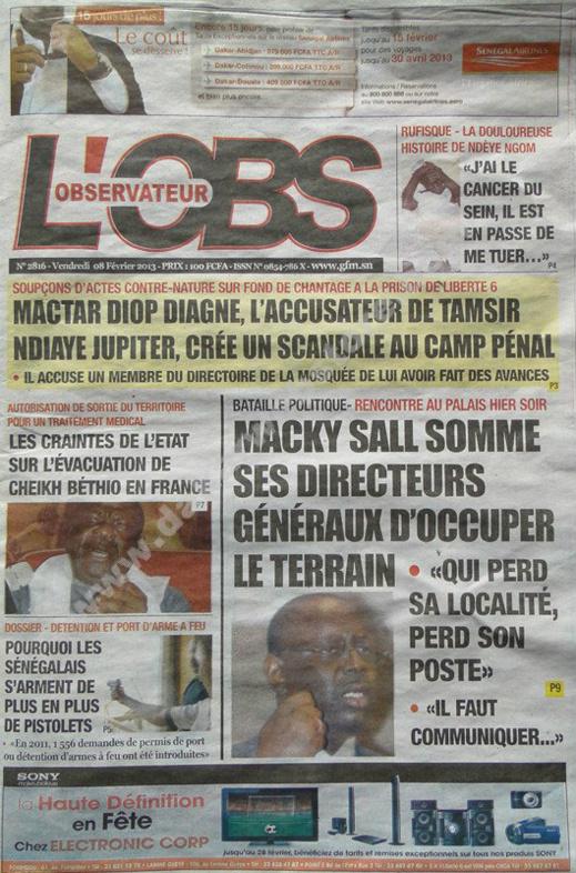 A la Une du Journal L'Observateur du vendredi 08 février 2013