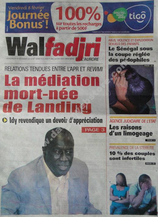 A la Une du Journal Walfadjri du vendredi 08 février 2013