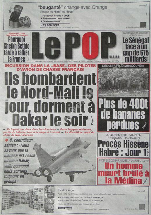A la Une du Journal Le Populaire du vendredi 08 février 2013