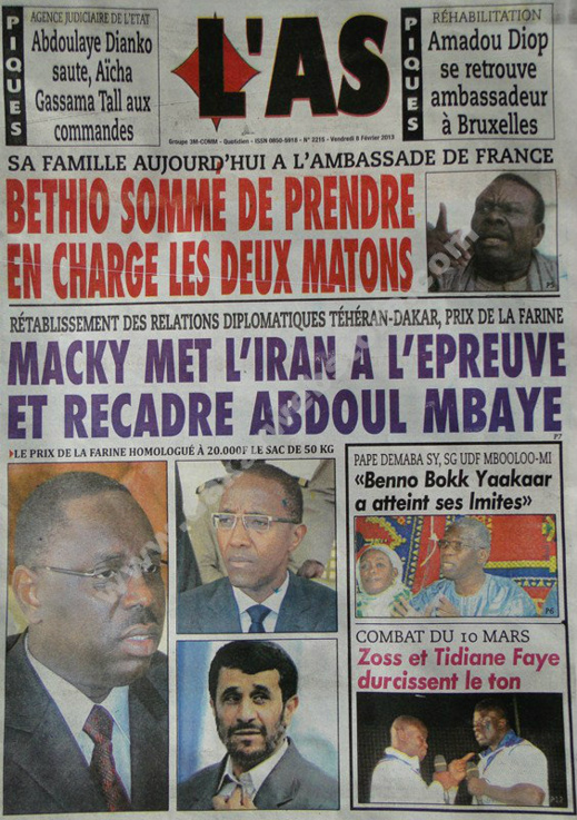 A la Une du Journal L'As du vendredi 08 février 2013