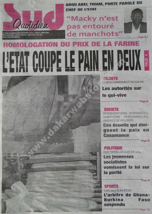 A la Une du Journal Sud Quotidien du vendredi 08 février 2013