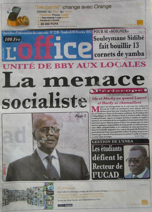 A la Une du Journal L'Office du vendredi 08 février 2013