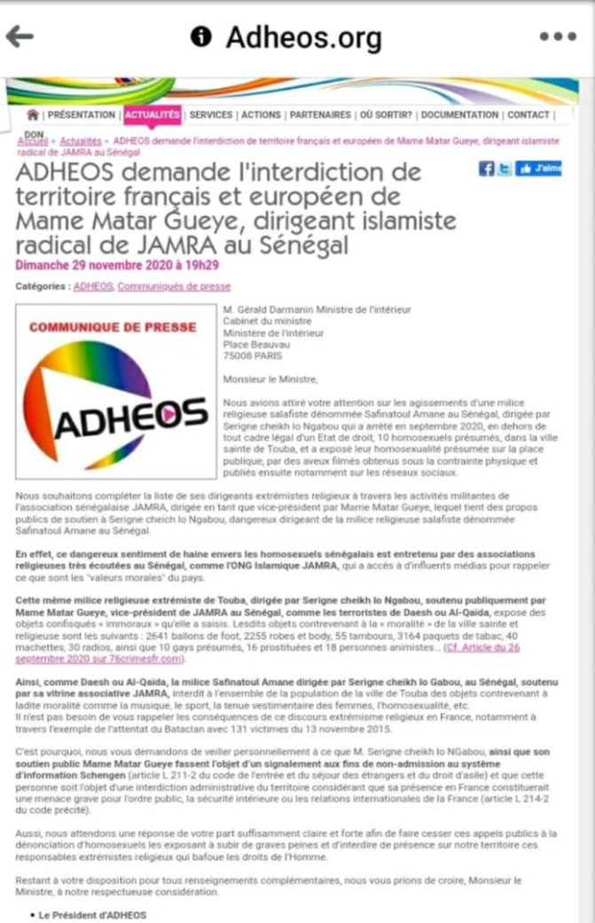 FRANCE/SIGNALEMENT AU MINISTRE DE L'INTÉRIEUR  : Les lobbies lgbt ciblent Serigne Modou Lô Ngabou et Mame Mactar Guèye