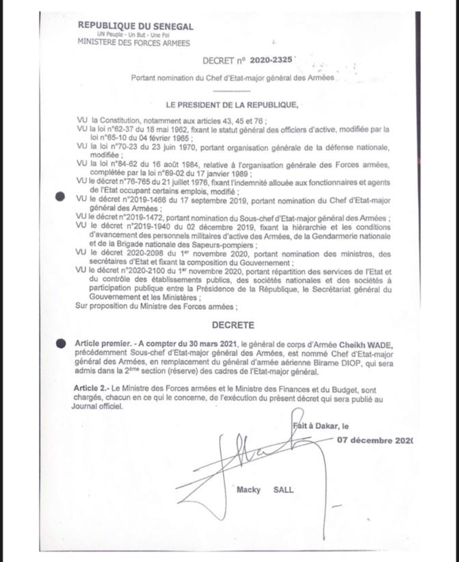 Chef d'Etat-Major Général des Armées: Macky remplacera Birame Diop par Cheikh Wade à partir du 30 mars 2021