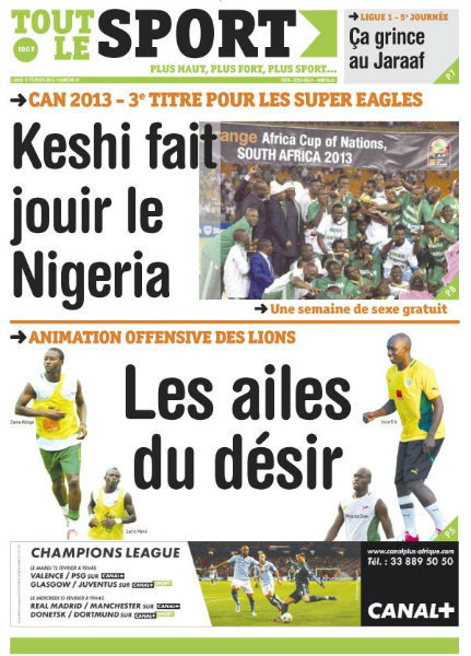 A la Une du Journal Tout Le Sport du lundi 11 février 2013