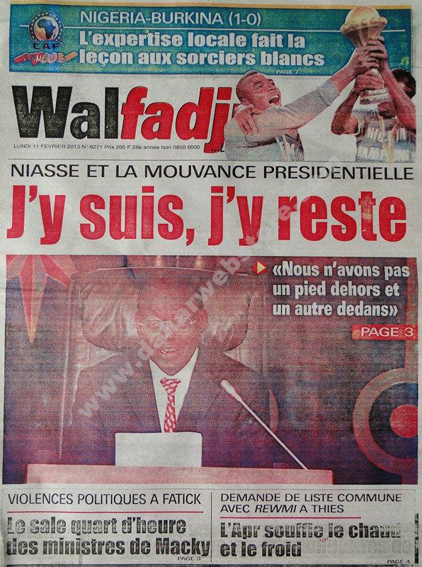 A la Une du Journal Walfadjri du lundi 11 février 2013