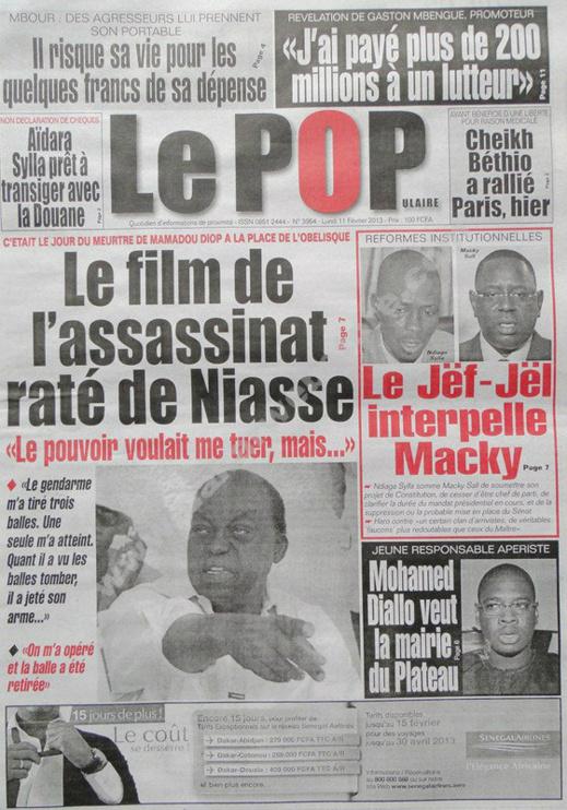 A la Une du Journal Le Populaire du lundi 11 février 2013