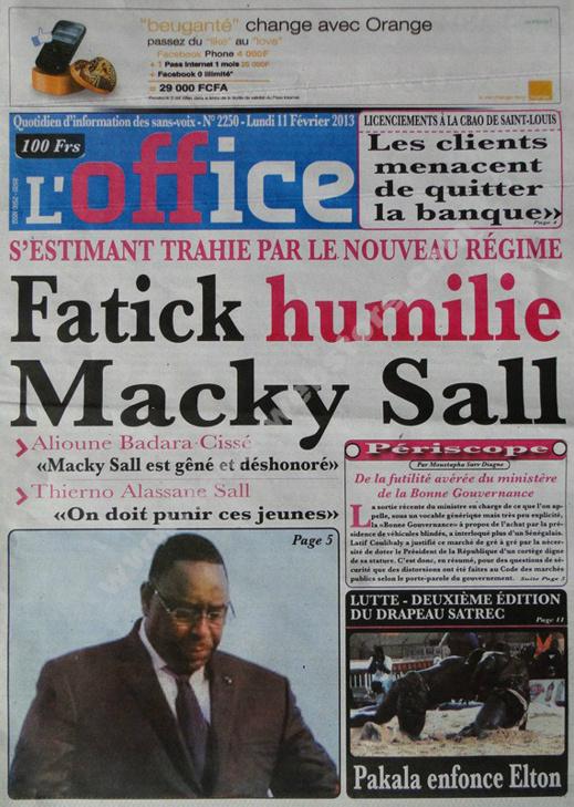 A la Une du Journal L'Office du lundi 11 février 2013