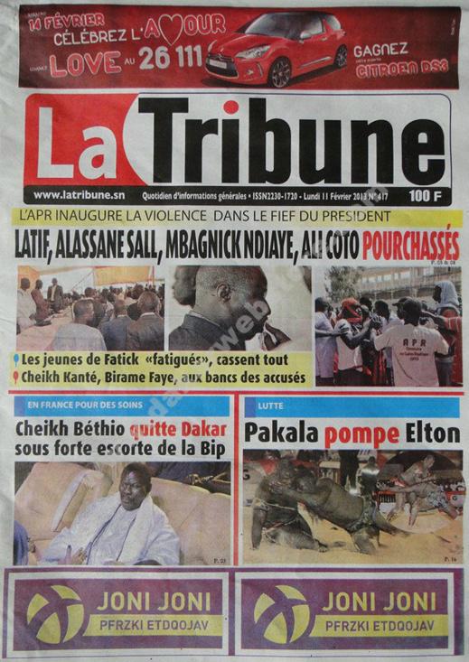 A la Une du Journal La Tribune du lundi 11 février 2013