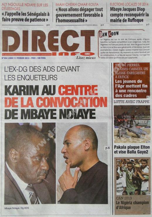 A la Une du Journal Direct Info du lundi 11 février 2013