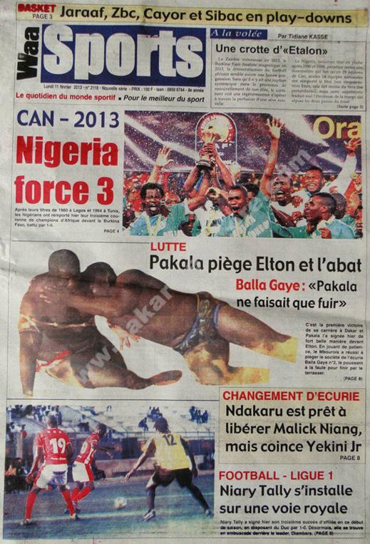A la Une du Journal Waa Sports du lundi 11 février 2013