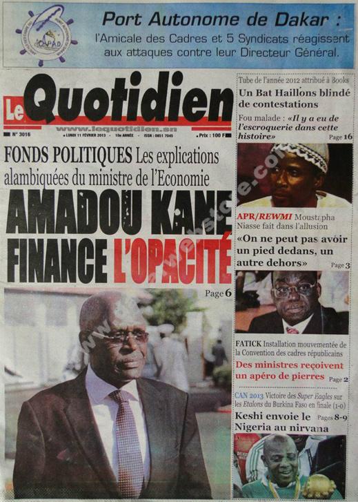 A la Une du Journal Le Quotidien du lundi 11 février 2013
