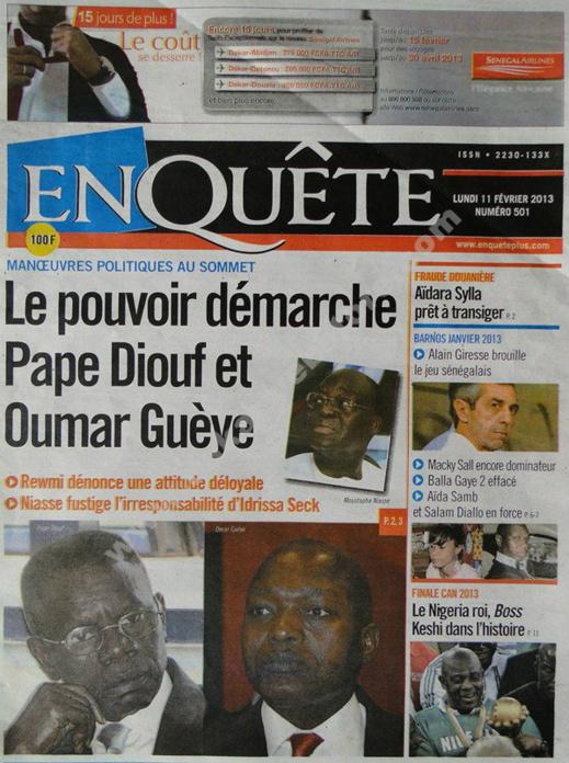 A la Une du Journal EnQuête du lundi 11 février 2013