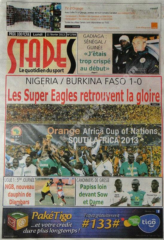 A la Une du Journal Stades du lundi 11 février 2013