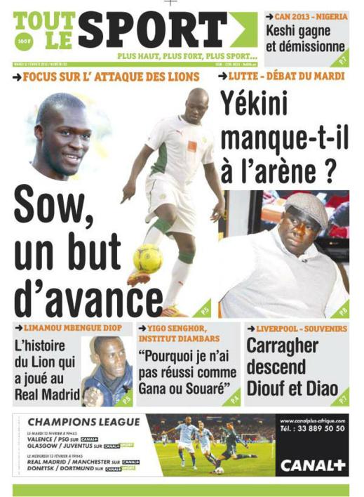 A la Une du Journal Tout Le Sport du mardi 12 février 2013
