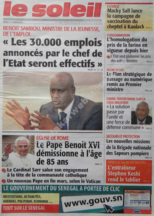 A la Une du Journal Le Soleil du mardi 12 février 2013