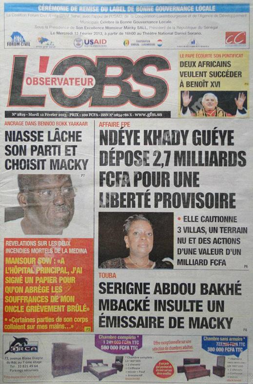 A la Une du Journal L'Observateur du mardi 12 février 2013