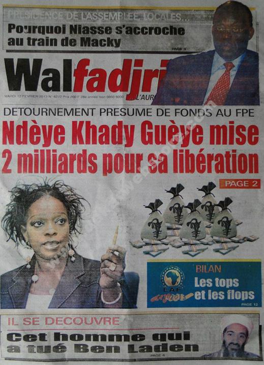 A la Une du Journal Walfadjri du mardi 12 février 2013