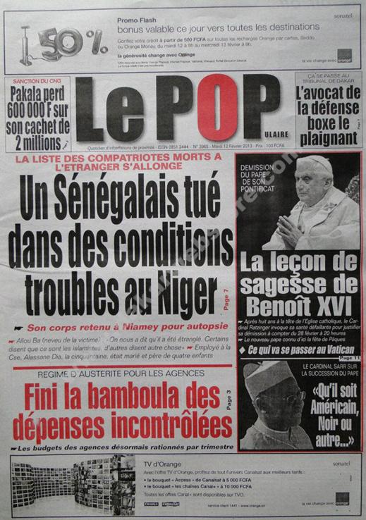 A la Une du Journal Le Populaire du mardi 12 février 2013