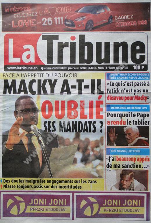 A la Une du Journal La Tribune du mardi 12 février 2013