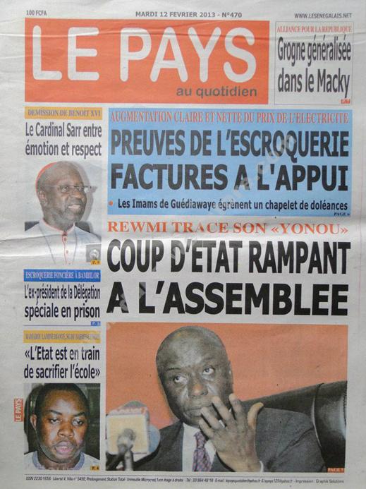 A la Une du Journal Le Pays du mardi 12 février 2013