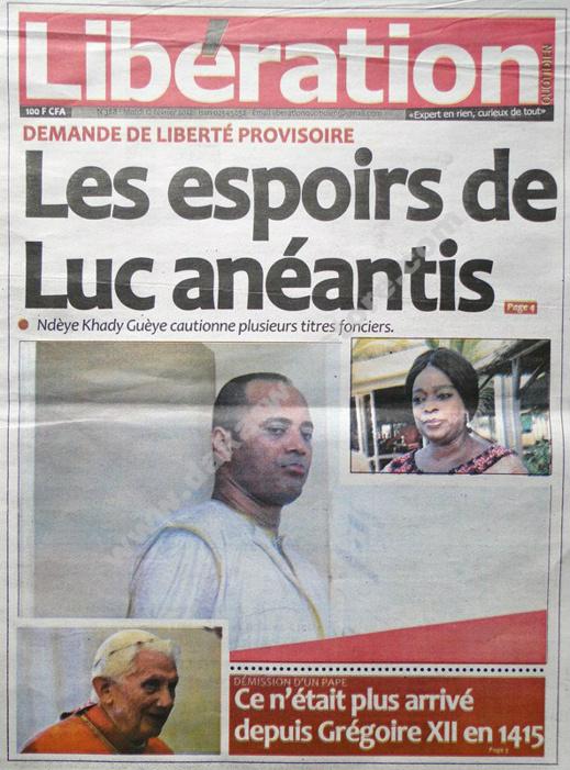 A la Une du Journal Libération du mardi 12 février 2013