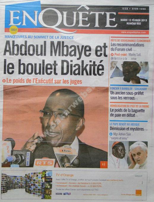 A la Une du Journal EnQuête du mardi 12 février 2013