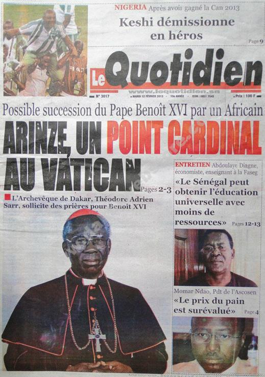 A la Une du Journal Le Quotidien du mardi 12 février 2013