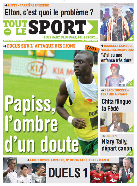 A la Une du Journal Tout Le Sport du mercredi 13 février 2013