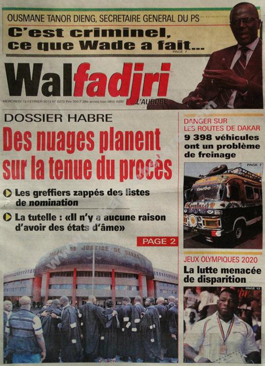 A la Une du Journal Walfadjri du mercredi 13 février 2013